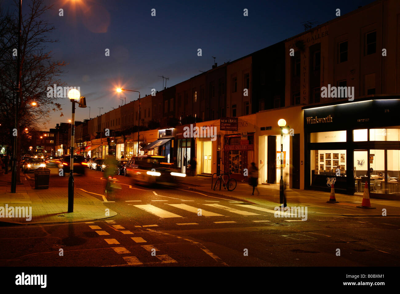 Parade of shops on Westbourne Grove, Notting Hill, London - Stock Image