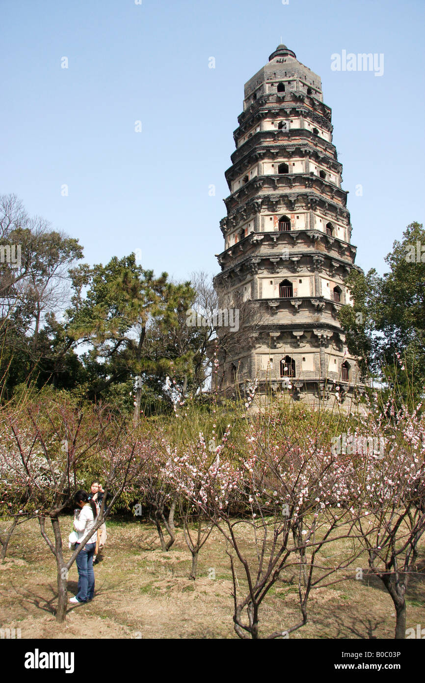 The leaning  pagoda at Tiger Hill Temple, Suzhou,China - Stock Image