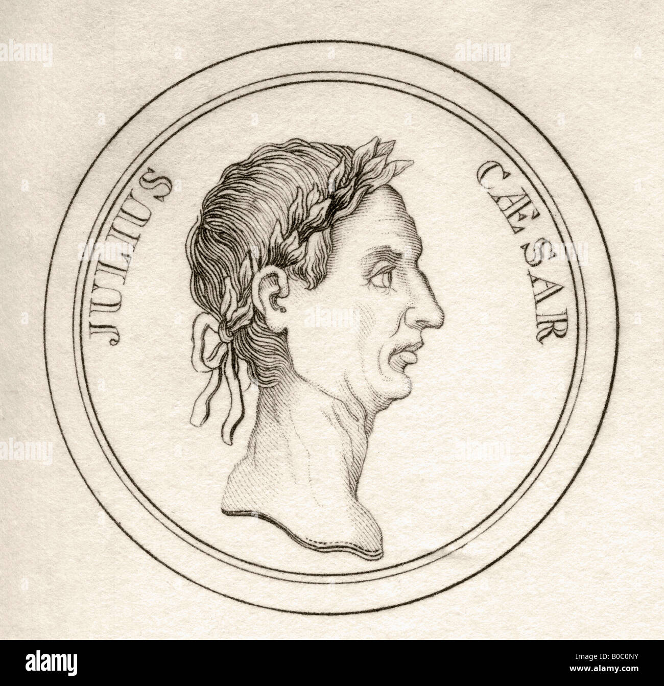 Gaius Julius Caesar BC100 44 Roman general dictator and statesman From the book Crabbs Historical Dictionary published - Stock Image