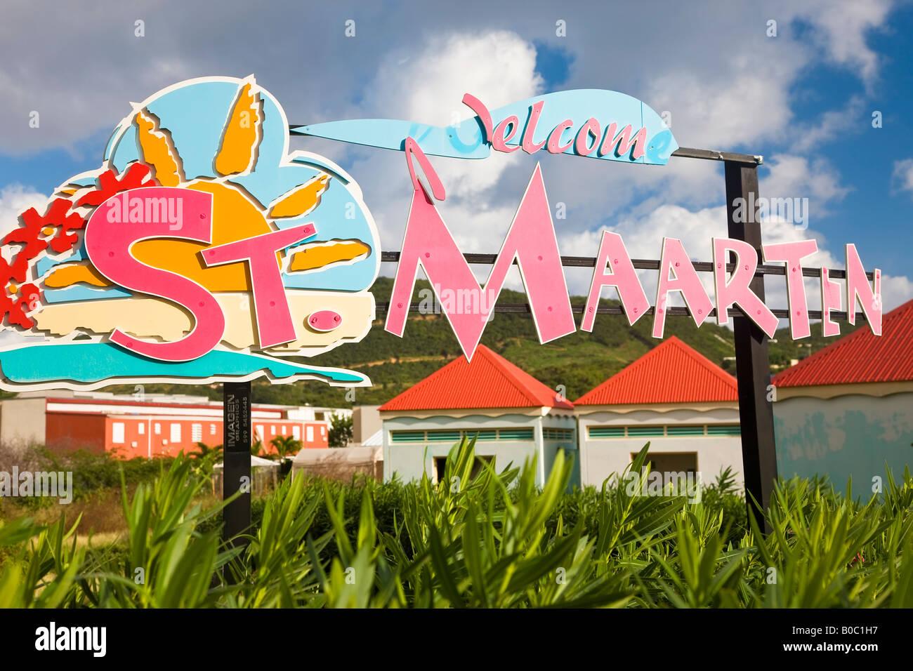West Indies Caribbean Lesser Antilles Leeward Islands French West Indies Netherlands Antilles St Martin Saint Martin - Stock Image