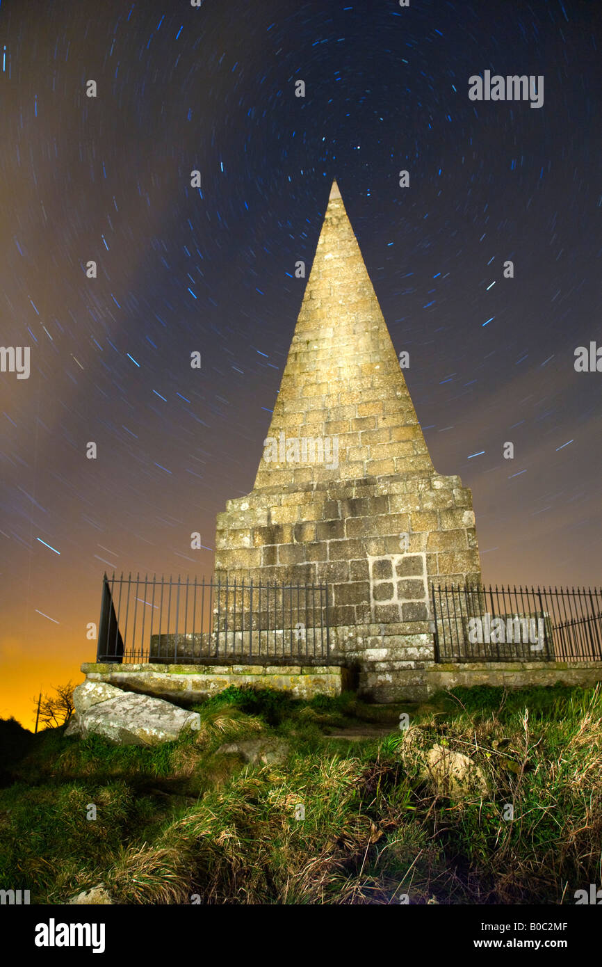 knill s monument st ives at night with star trails cornwall - Stock Image