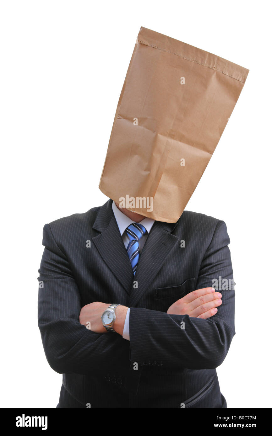 Man with a paper bag - Stock Image