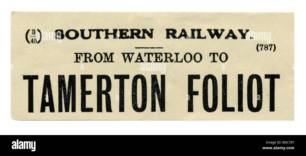 Tamerton Foliot near Plymouth Devon Southern Railway Station luggage label March 1945 - Stock Image