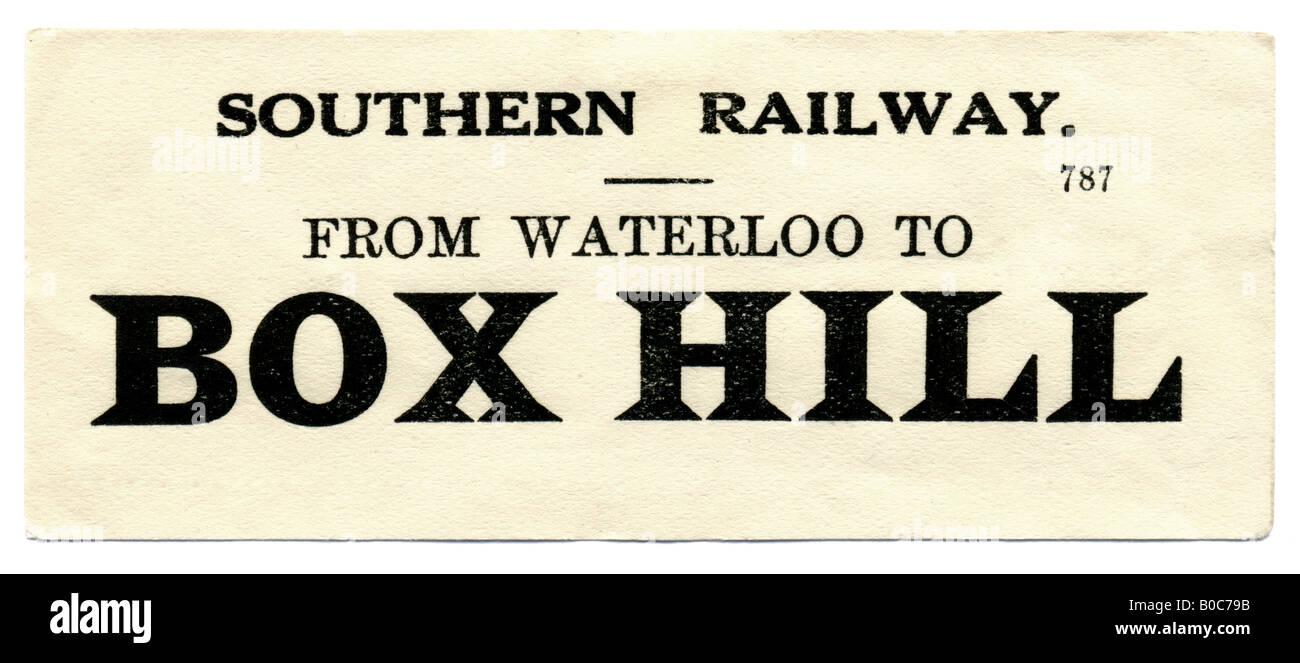 Box Hill Surrey Southern Railway Station luggage label undated - Stock Image