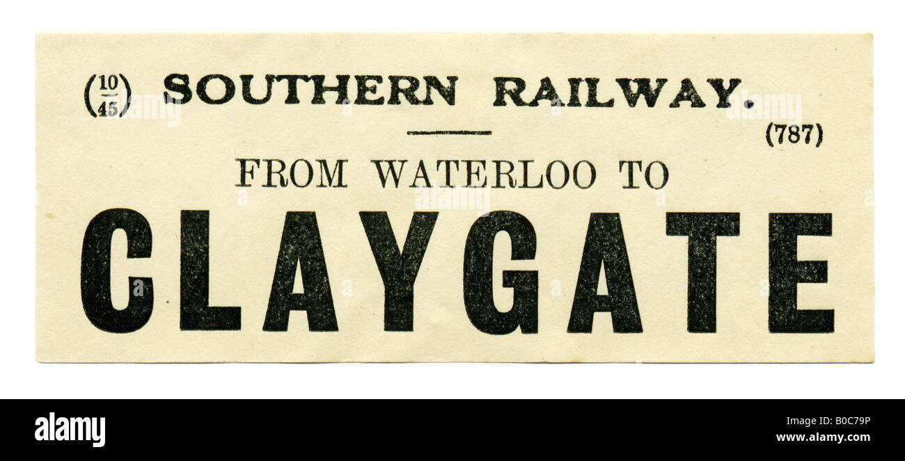 Claygate Surrey Southern Railway Station luggage label October 1945 - Stock Image