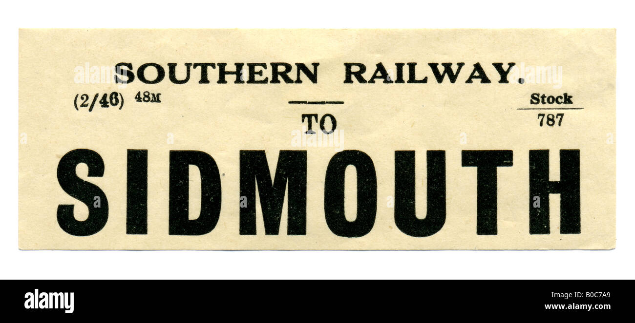 Sidmouth Devon Southern Railway Station luggage label February 1946 - Stock Image