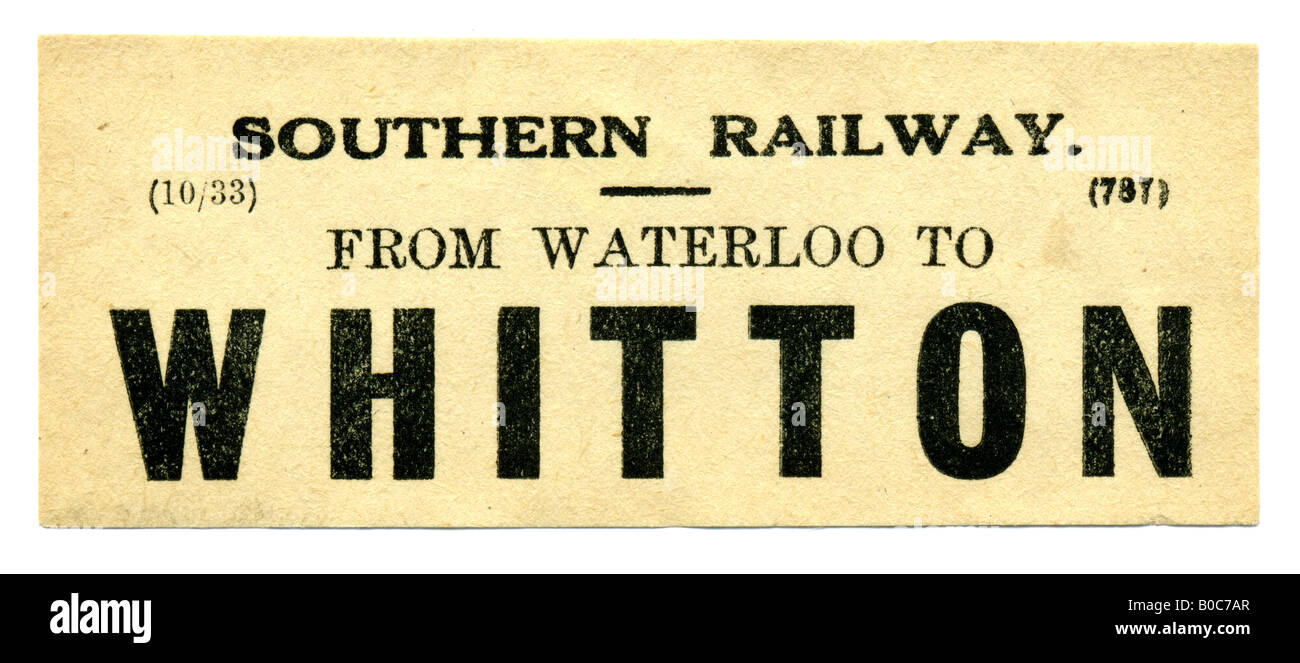 Whitton near Twickenham Greater London Southern Railway Station luggage label October 1933 - Stock Image