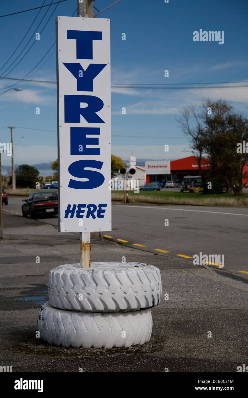 tyre shop advertising,greymouth,south island,new zealand Stock Photo