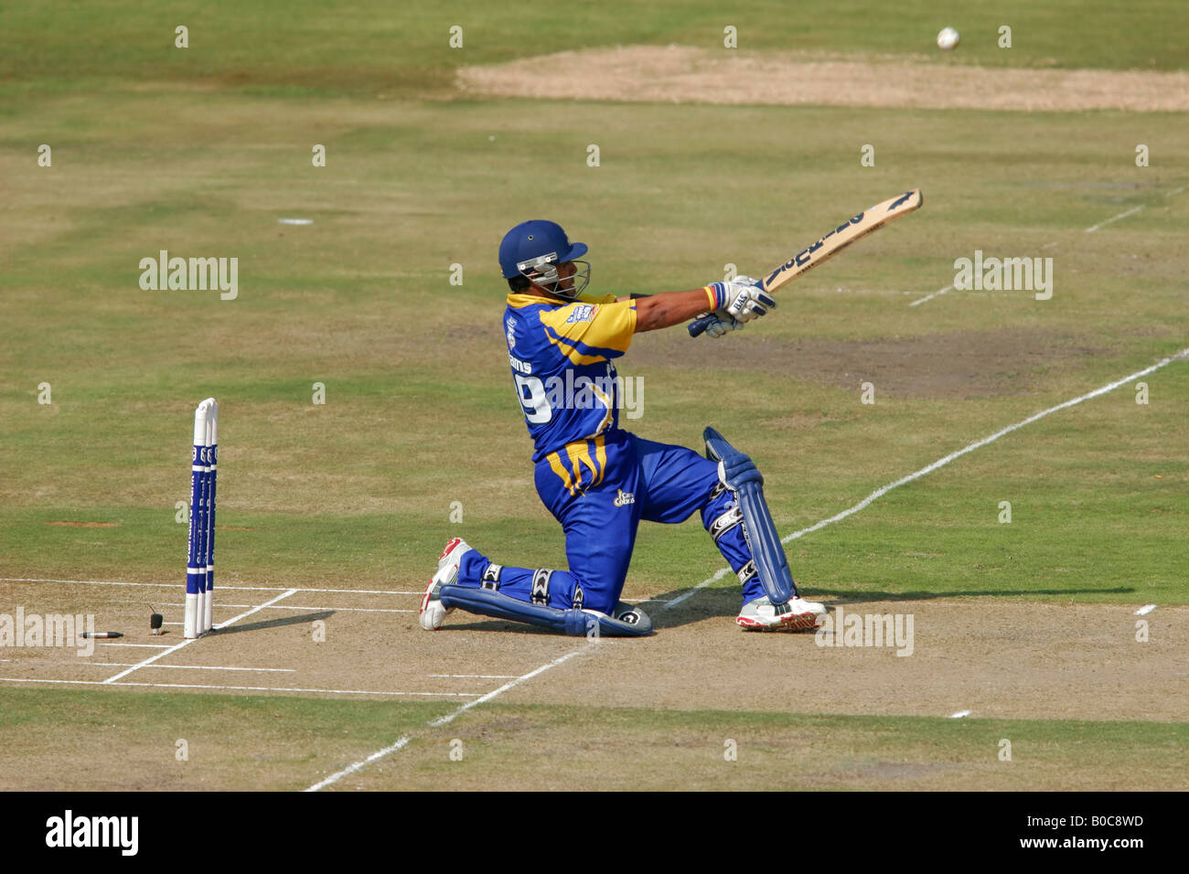 Batsman hitting the ball during a one-day cricket match between the Cape Cobras and Free State Eagles, Bloemfontein - Stock Image