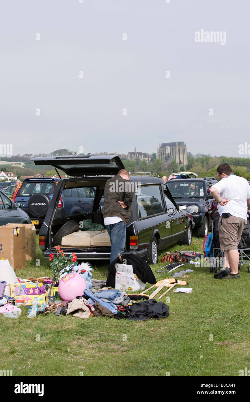 Hearse being used for car boot sale, Sussex, England, UK