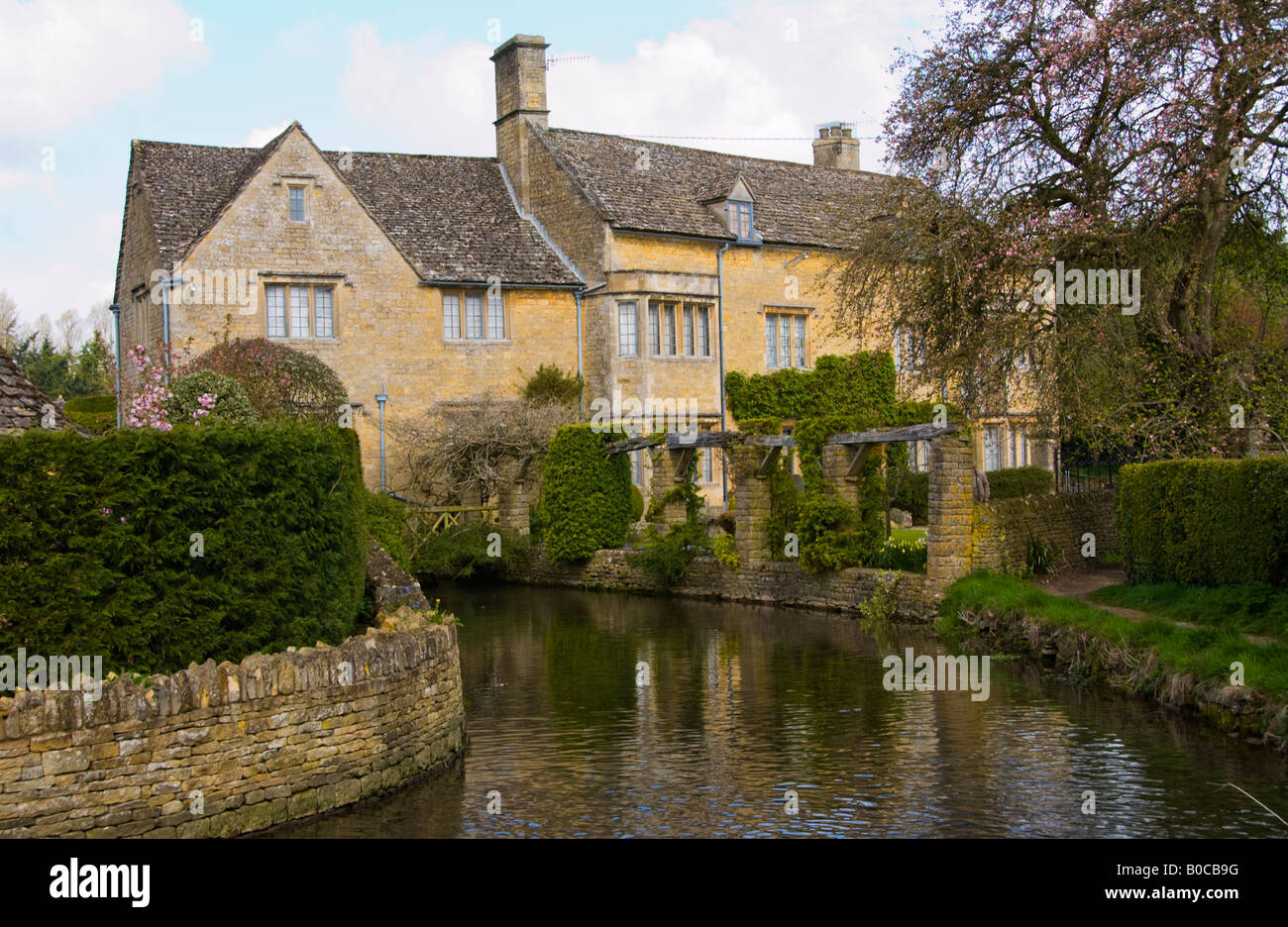 Country House On River Windrush In Village Of Bourton On