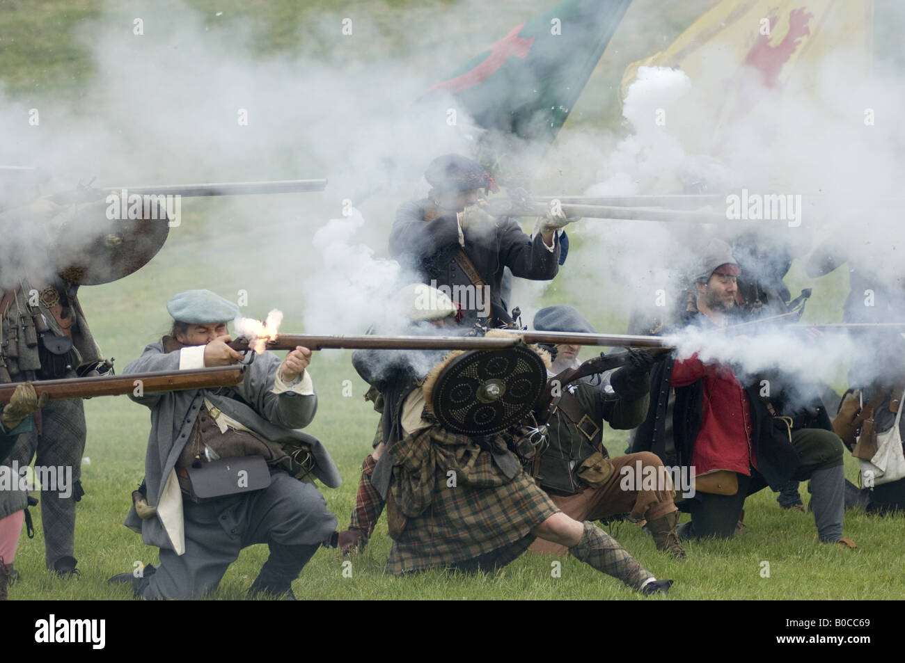 Historical re enactment Urquart castle Loch Ness Sealed knot society - Stock Image