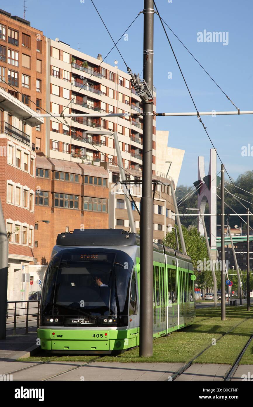 Tram, Bilbao, Euskadi, Basque Country, Spain - Stock Image