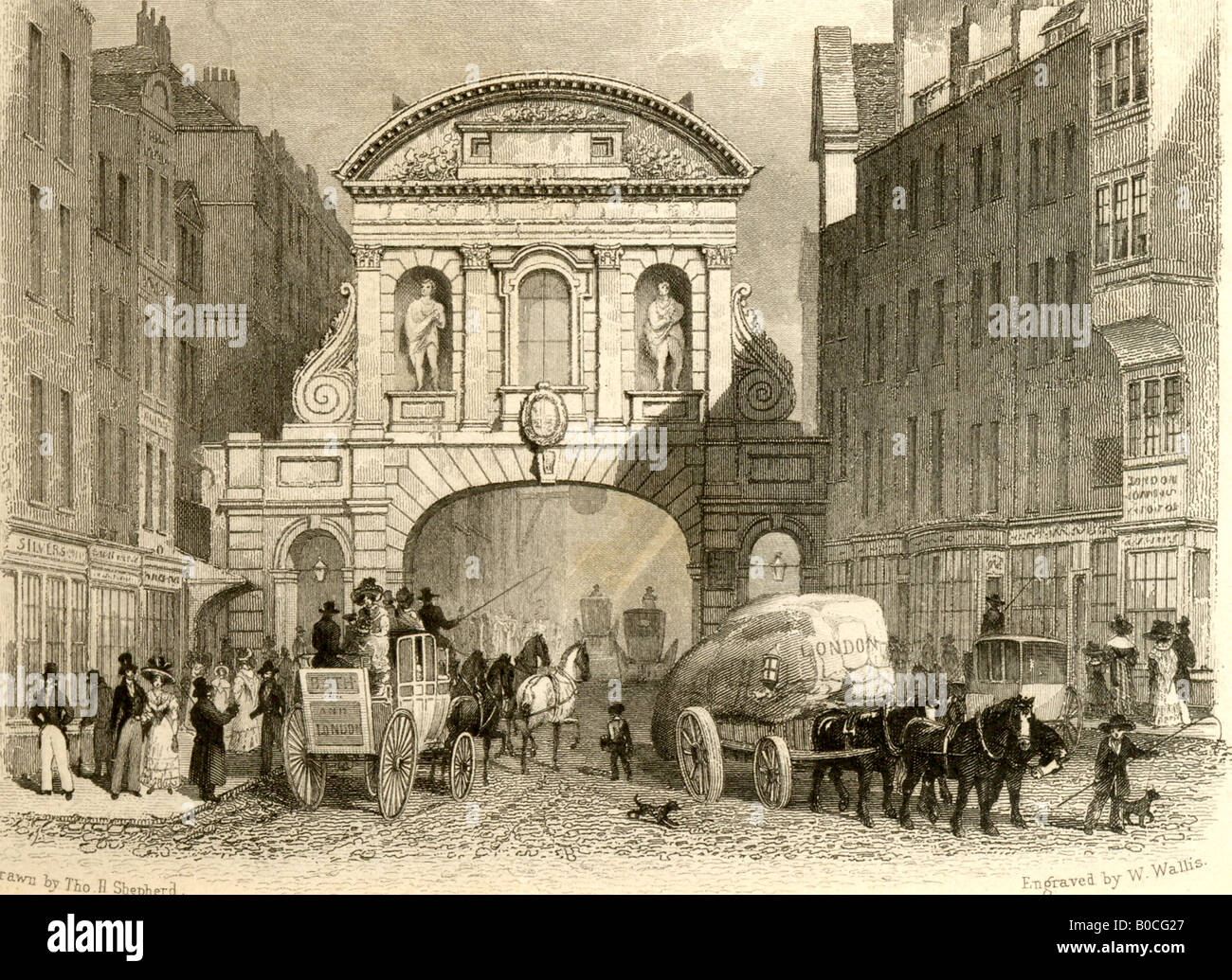 Engraving of Temple Bar, London 1878