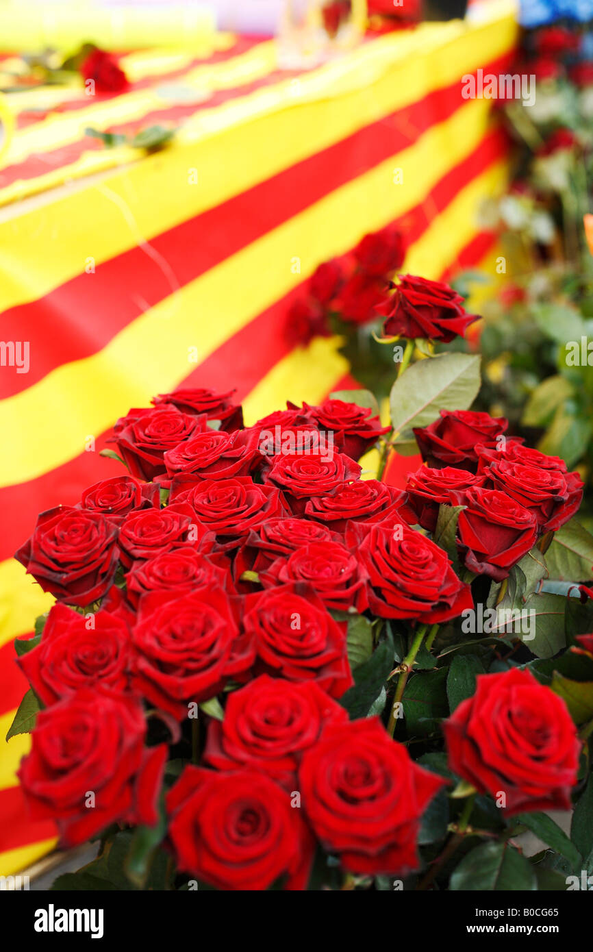 St George's Day (Dia Sant Jordi) in Barcelona, Catalonia, Spain. - Stock Image