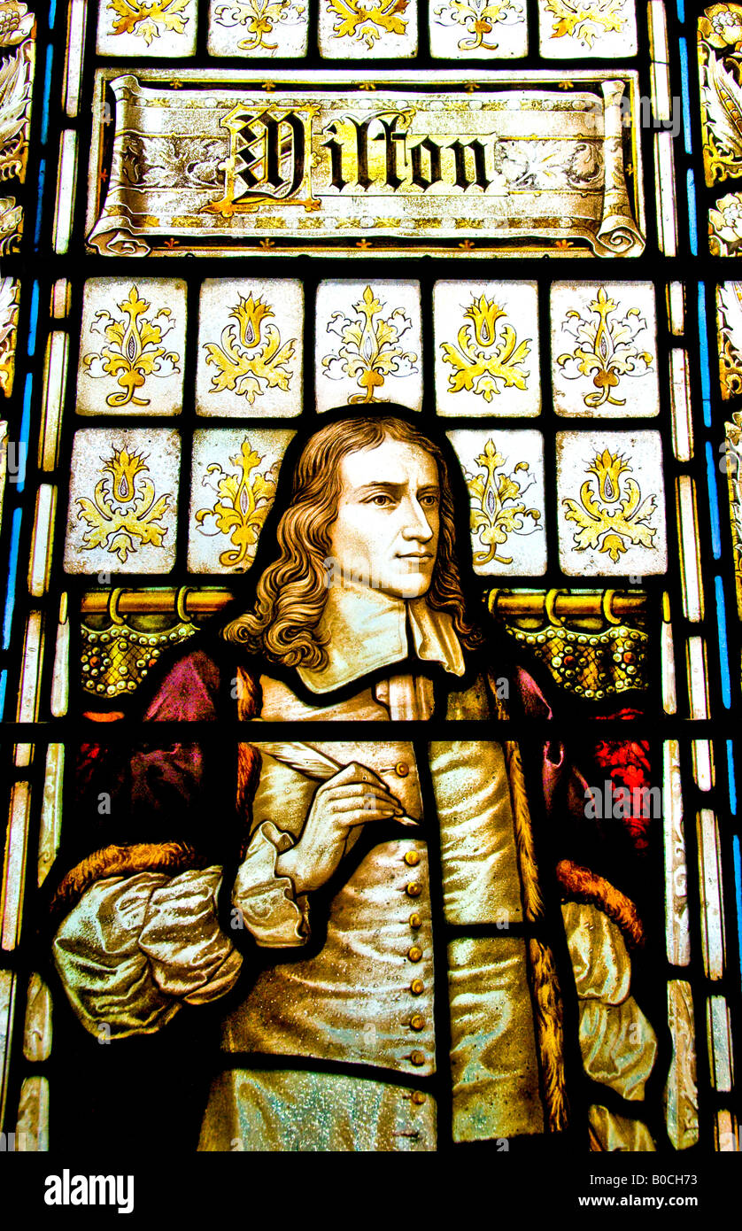 John Milton depicted in a stained glass window. - Stock Image