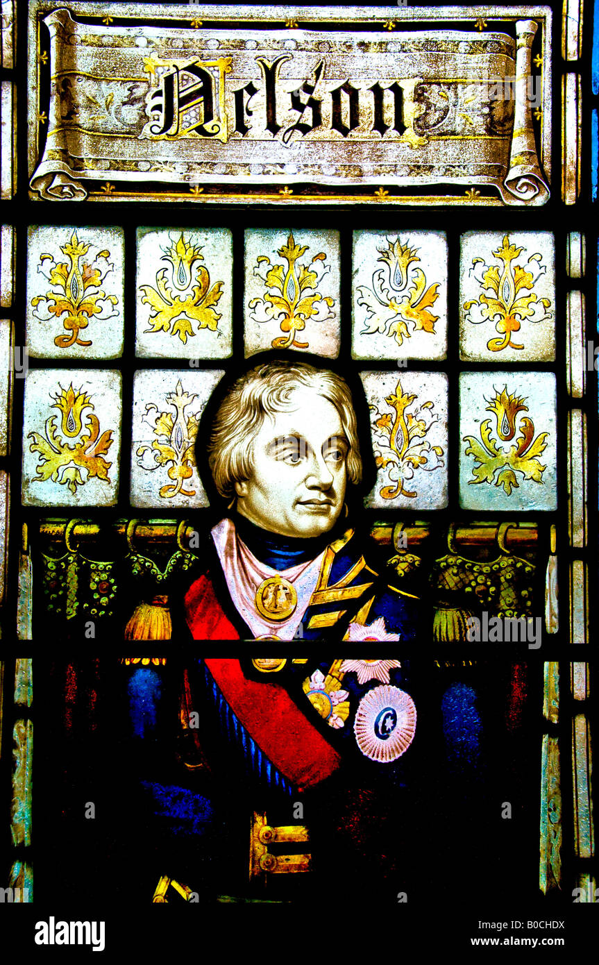 Admiral Horatio Nelson depicted in a stained glass window. - Stock Image