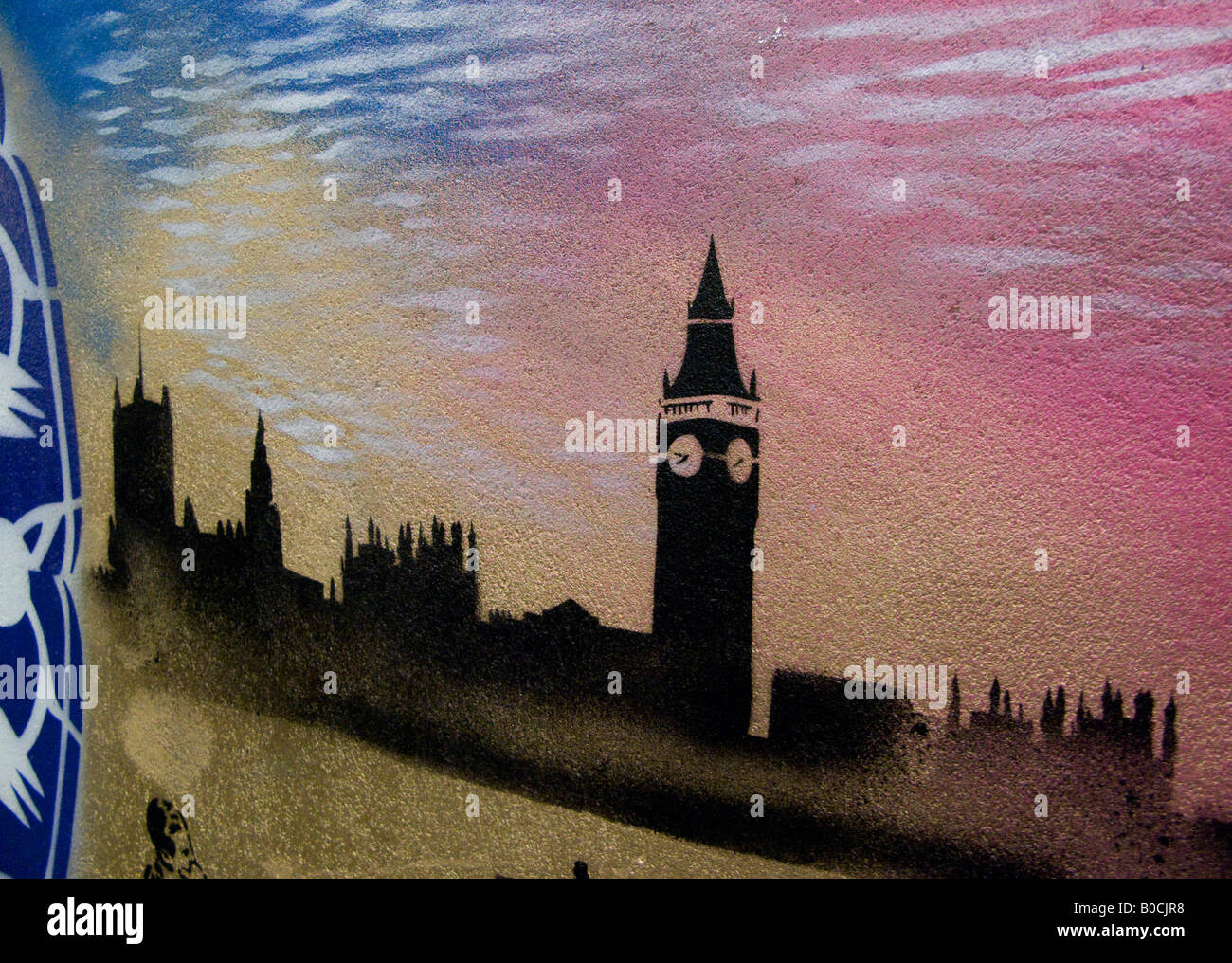 Houses of Parliament graffiti style - an image from The Cans Festival, a London street exhibition Banksy helped - Stock Image