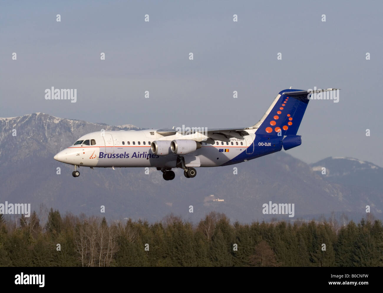 Brussels Airlines Avro RJ85 regional airliner landing at Ljubljana Airport. Air travel in Europe. - Stock Image