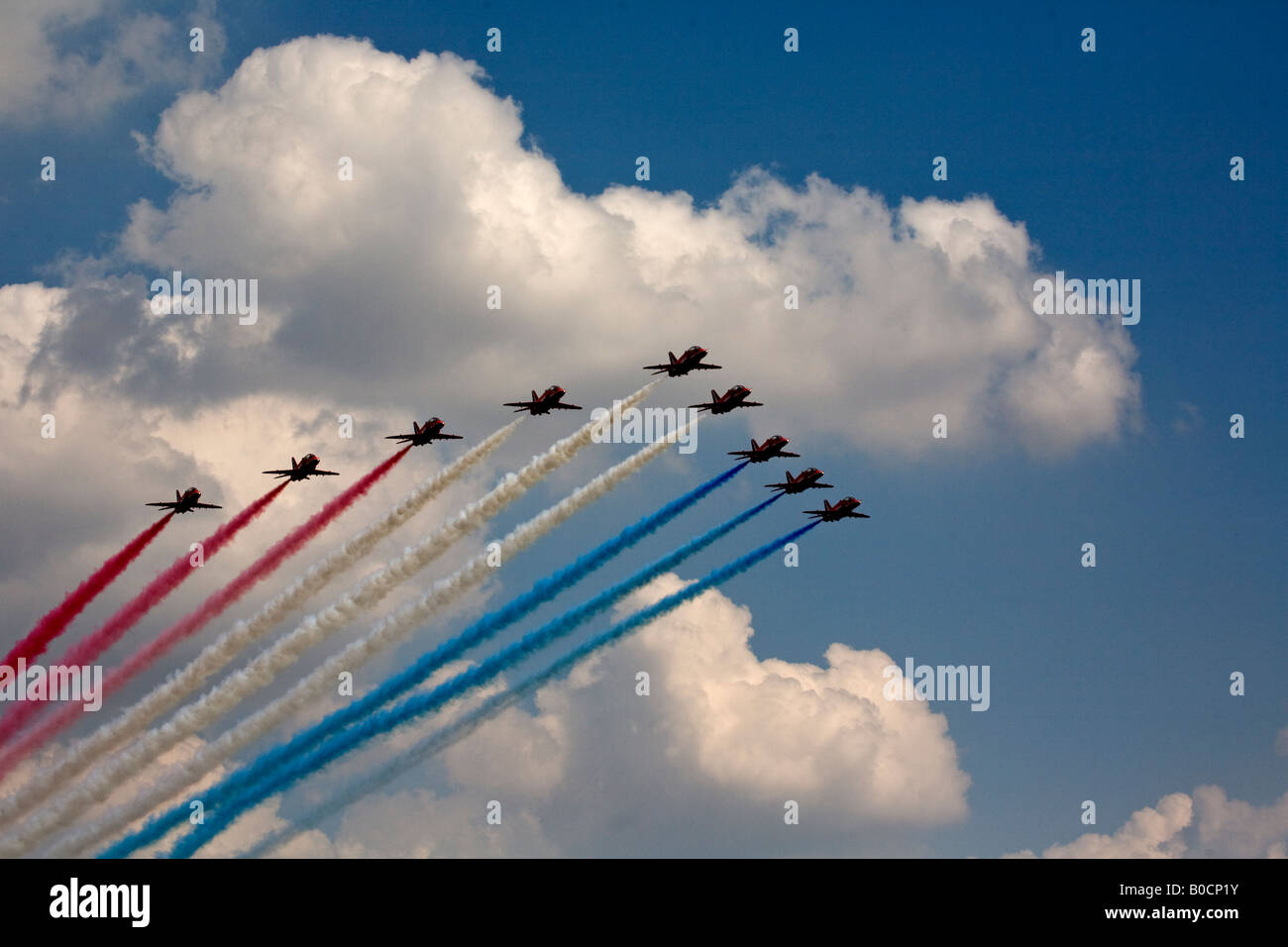 Red Arrows display team over  Wyton Air Base, - Stock Image