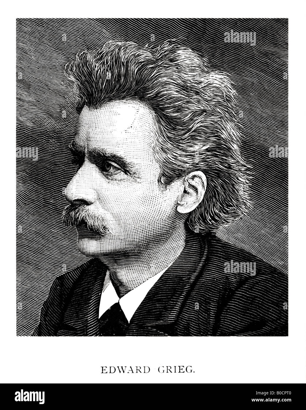 Victorian Steel Engraved  1892 Print of Edward Grieg Musical Composer FOR EDITORIAL USE ONLY - Stock Image
