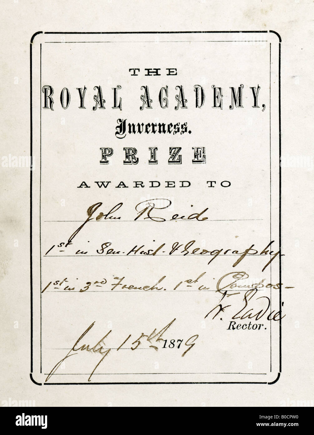 Victorian School Prize book insert Royal Academy of Inverness Scotland 1879 - Stock Image