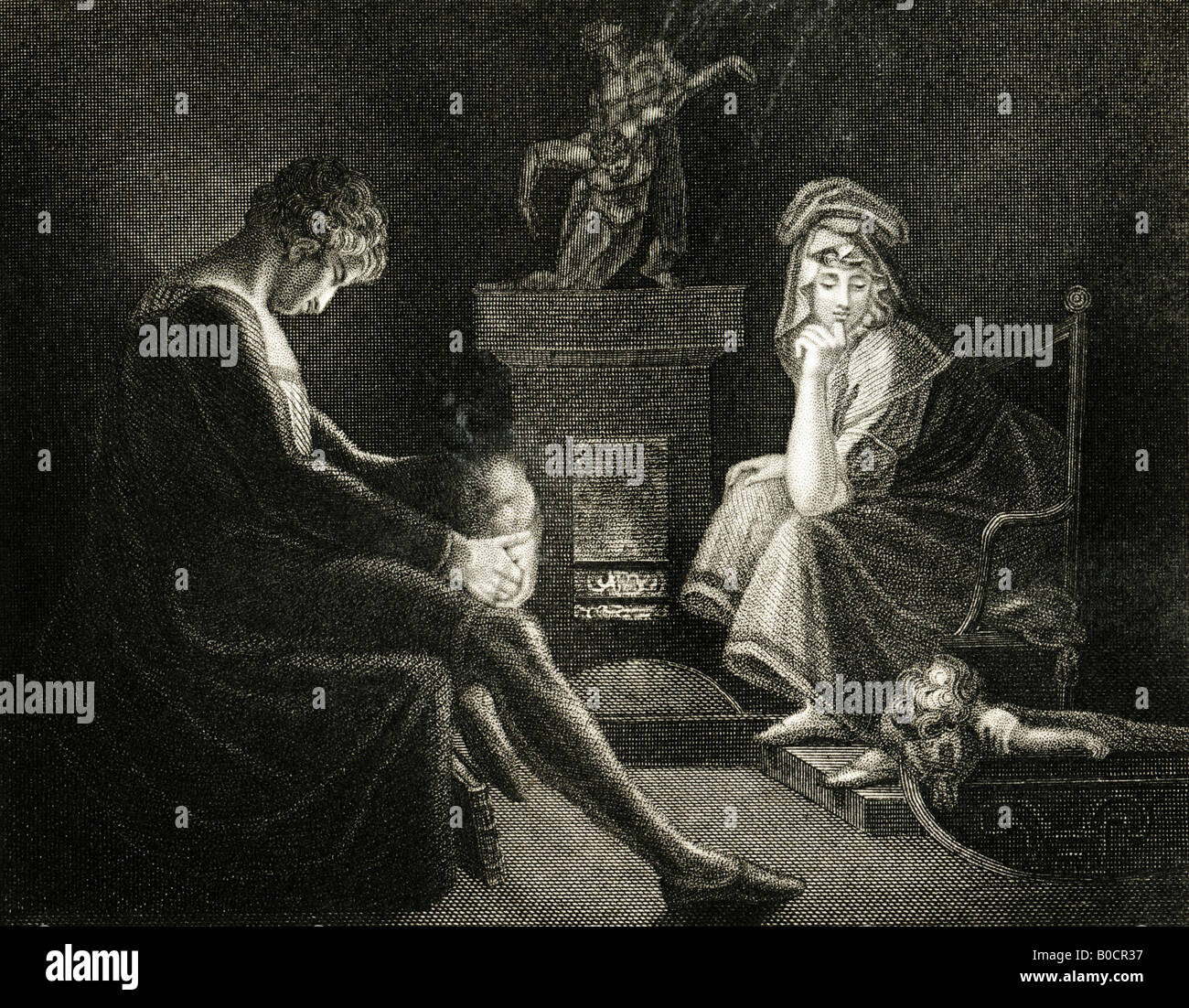 19th Century engraving Print of Silence 1835 from a painting by J A Fuseli RA from John Milton's Il Penseroso - Stock Image