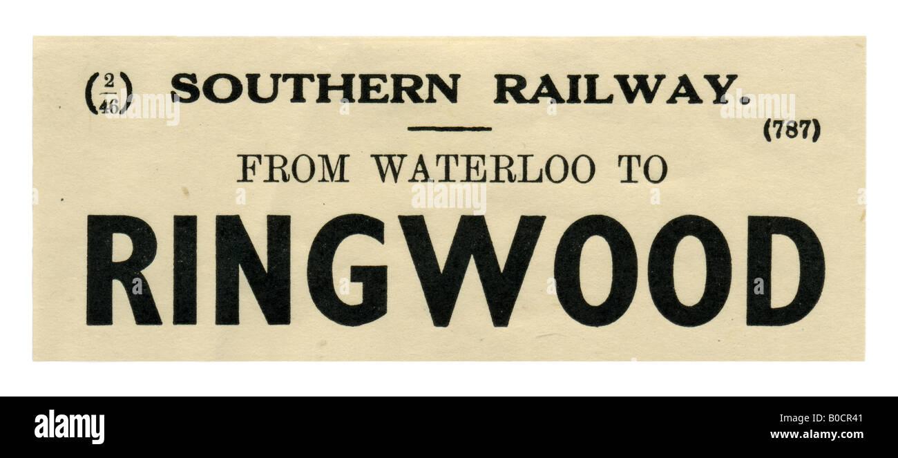 Ringwood Hampshire Southern Railway Station luggage label February 1946 - Stock Image