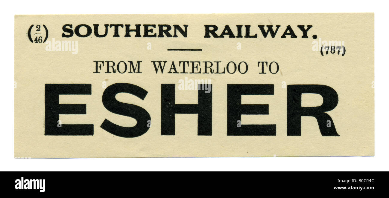 Esher Surrey Southern Railway Station luggage label February 1946 - Stock Image