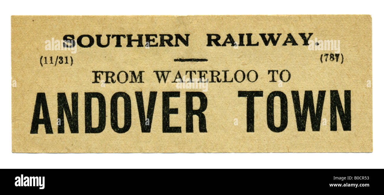 Andover Town Hampshire Southern Railway Station luggage label November 1931 - Stock Image