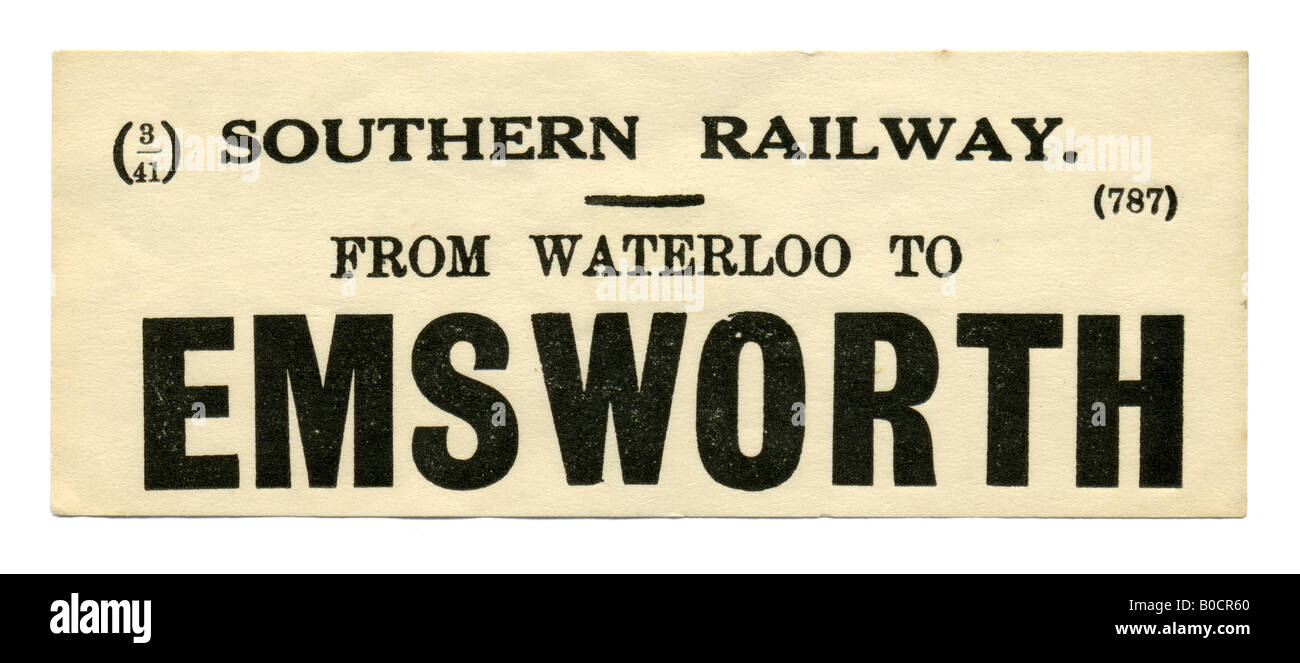 Emsworth Hampshire Southern Railway Station luggage label March 1941 - Stock Image