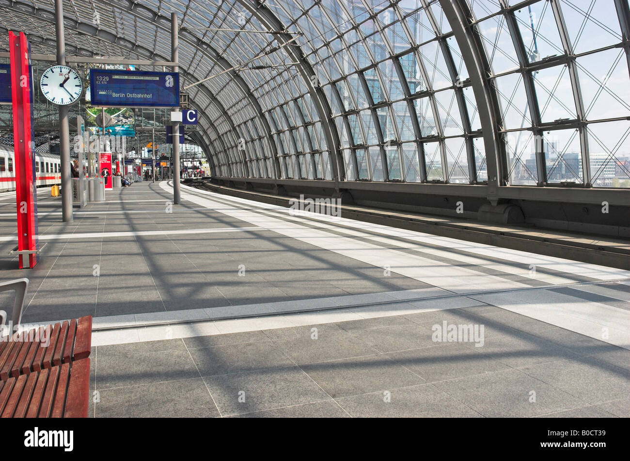 Railroad station platform Central Station Berlin Hauptbahnhof Berlin Germany April 2008 - Stock Image