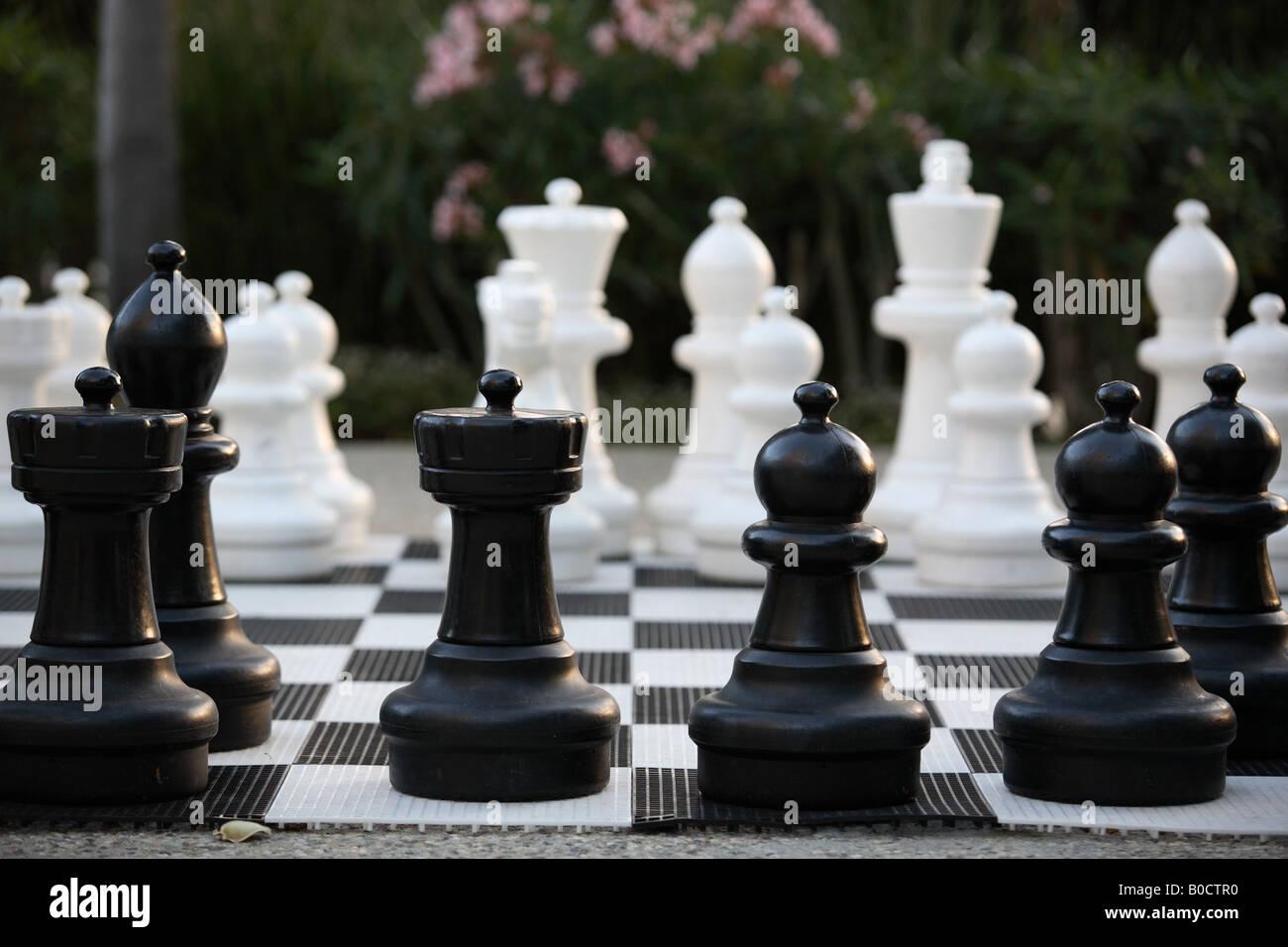 Oversized chess set - Stock Image