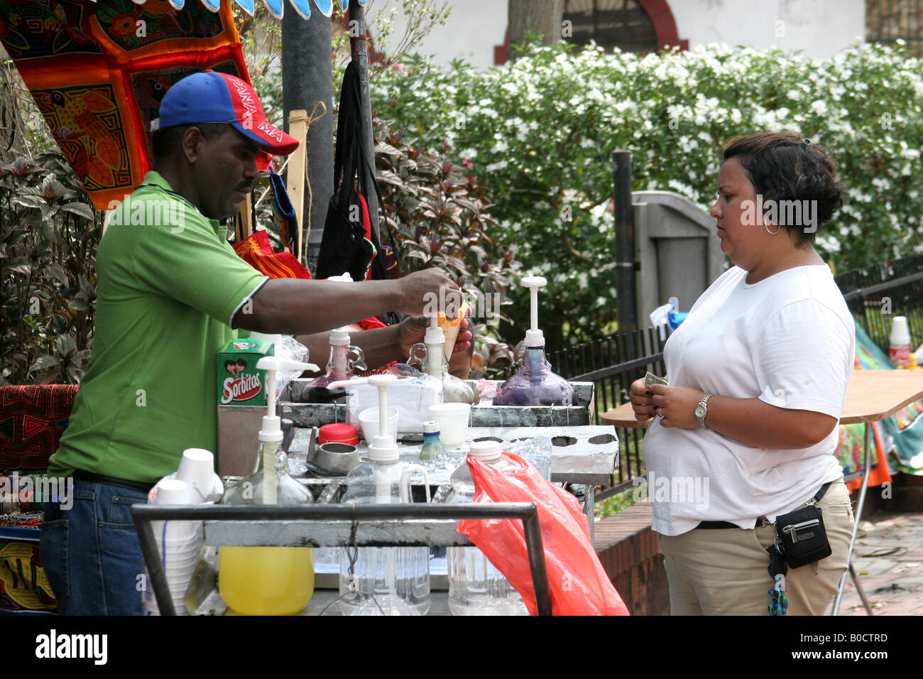 Cold drinks seller at a street of Panama city Stock Photo