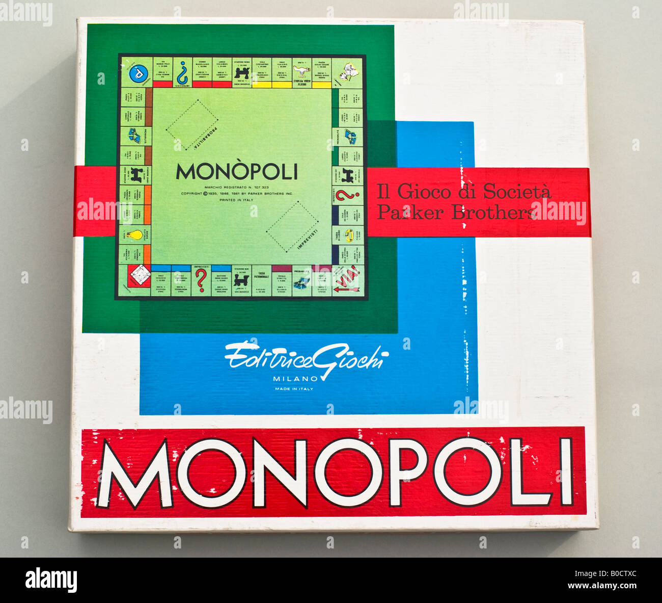 Boxed game of 1980s Italian version of Monopoly - Stock Image