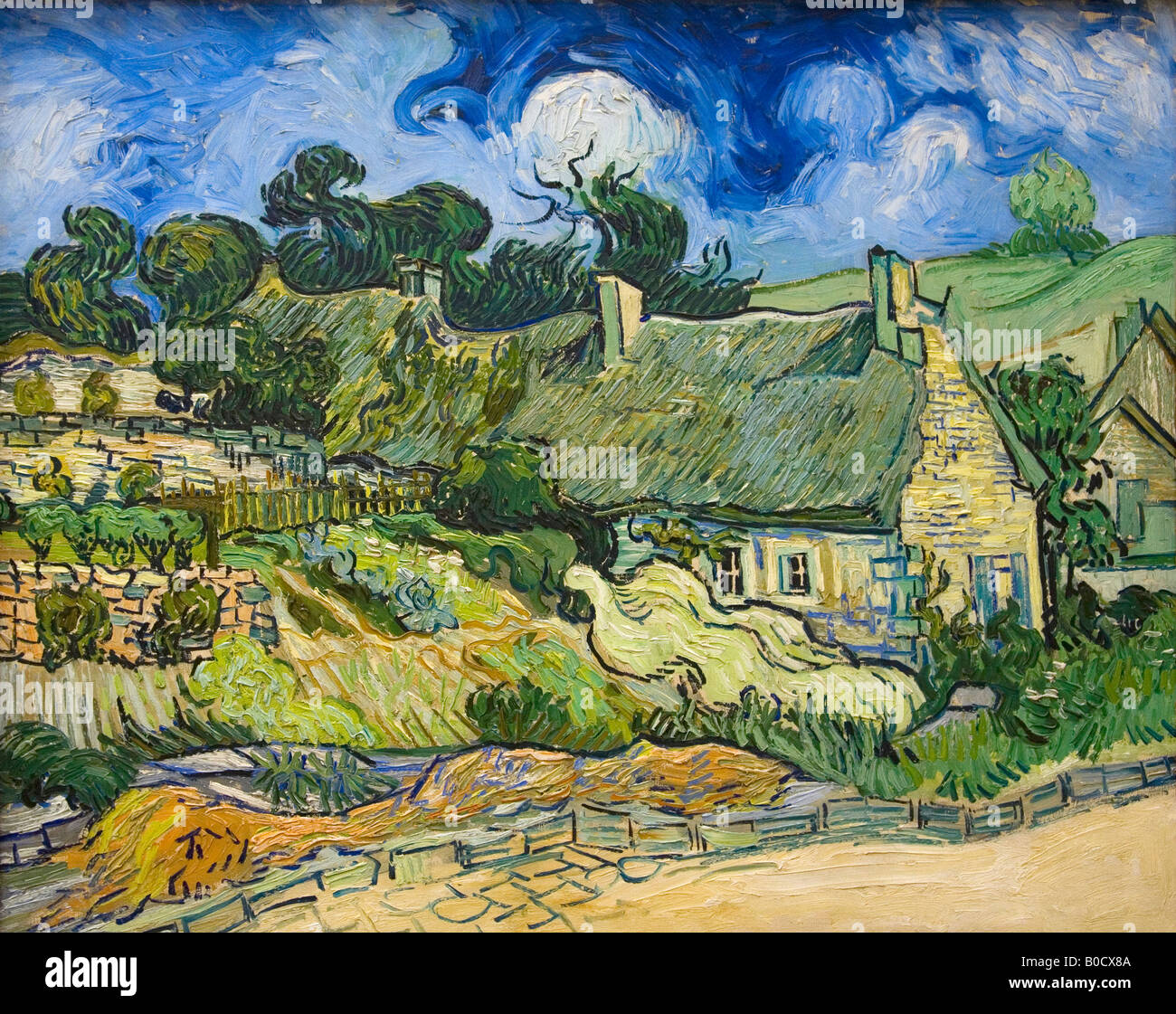 House with Straw Ceiling Thatched House Chaumes a Cordeville Auvers-sur-Oise Vincent van Gogh painted 1890 Musee - Stock Image