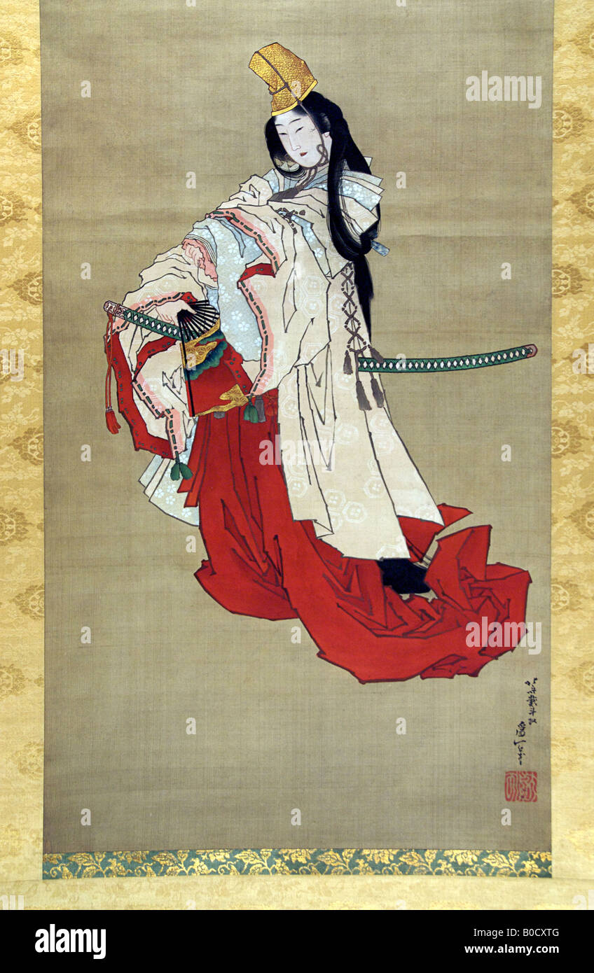 SHIRABYOSHI, HEIAN COURT PERFORMER. Painting on silk by Katsushika Hokusai - Stock Image