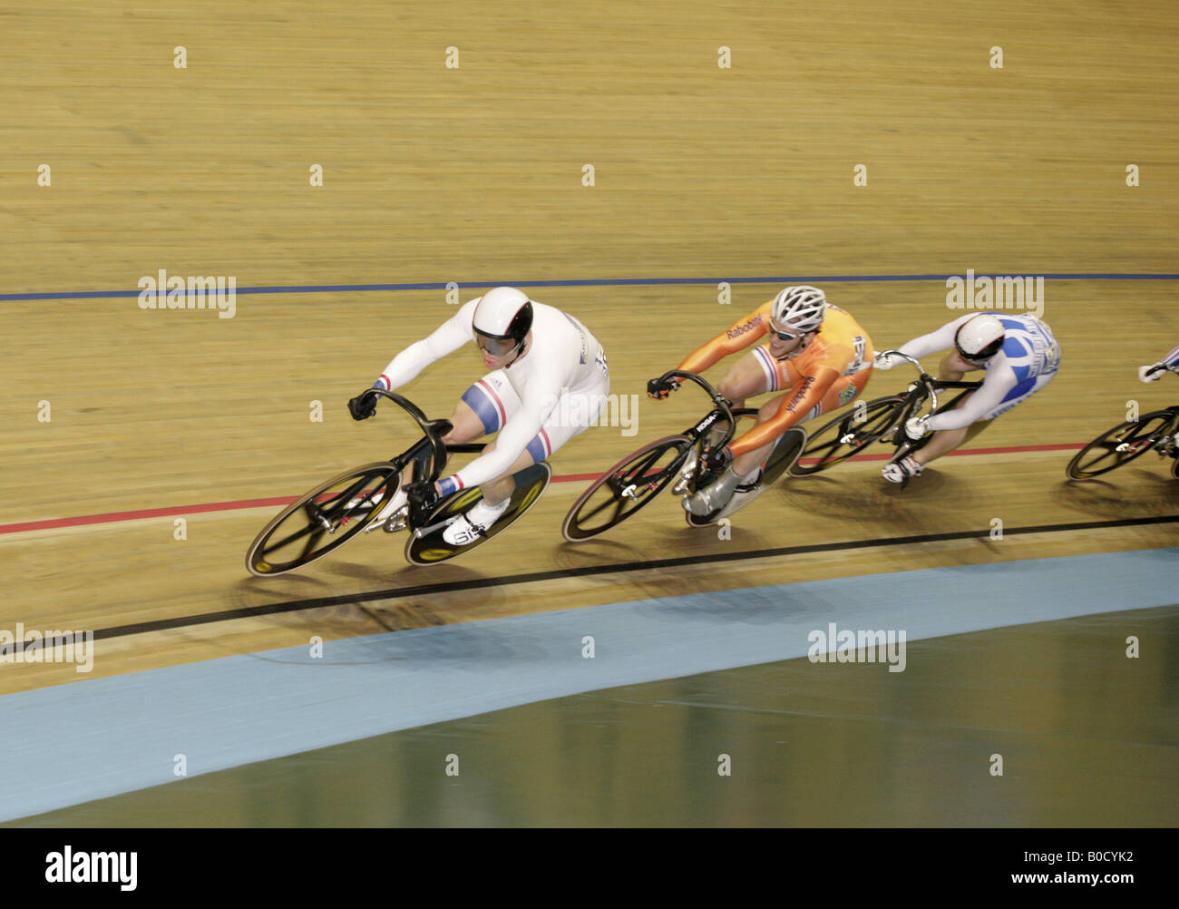 Chris Hoy of Scotland Teun Mulder Netherlands Christos Voulkakis Greece Gold Silver and bronze medallists in Keirin - Stock Image