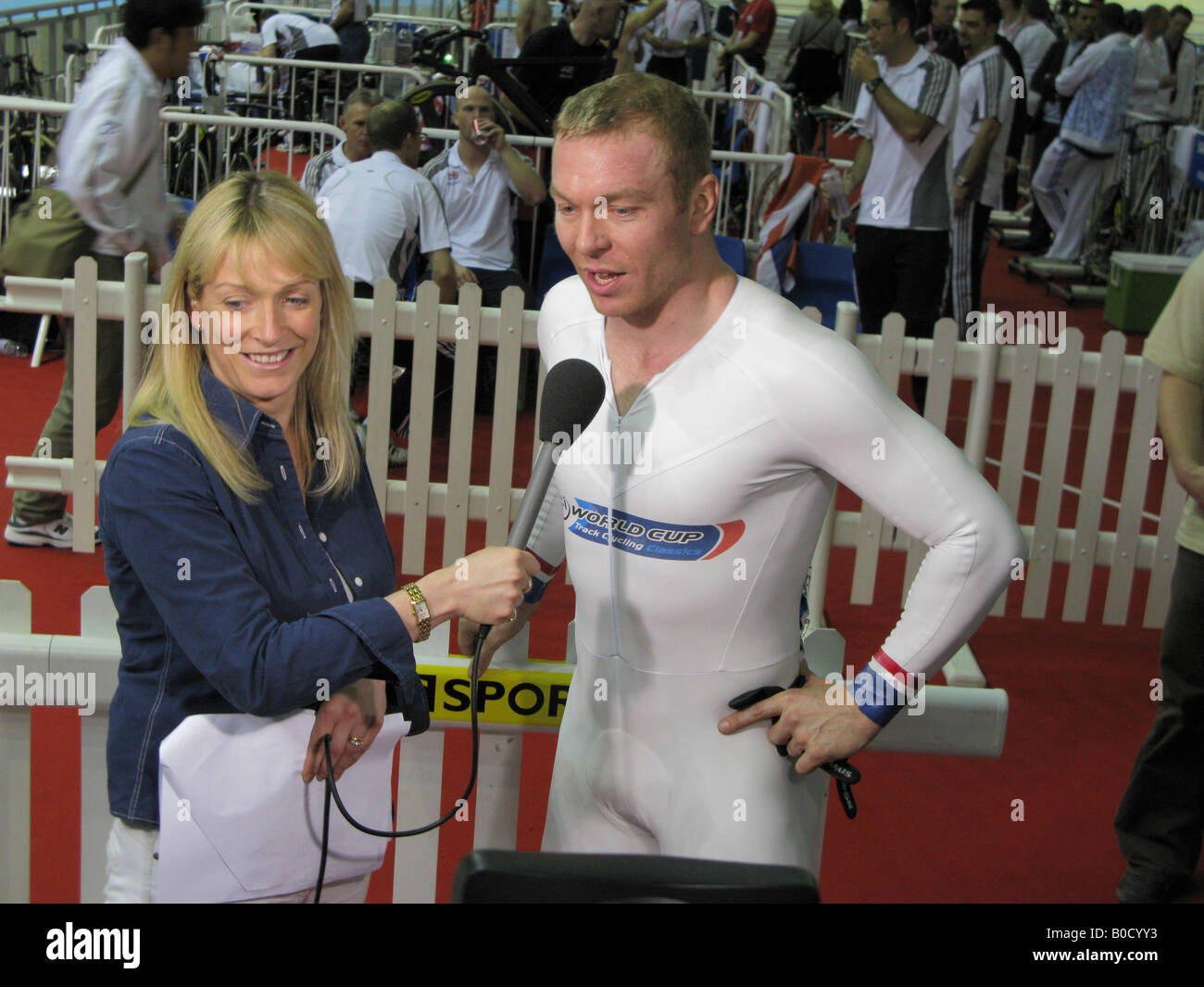 Jill Douglas of BBC television interviews Chris Hoy World Champion British  sprinter Cycling World Championships -