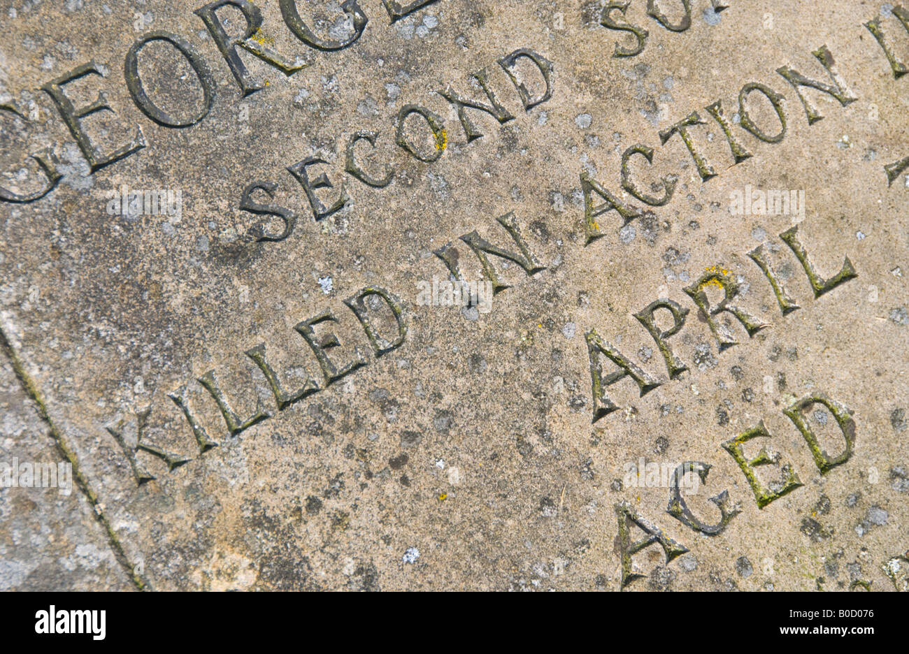 Gravestone of soldier KILLED IN ACTION England UK EU - Stock Image