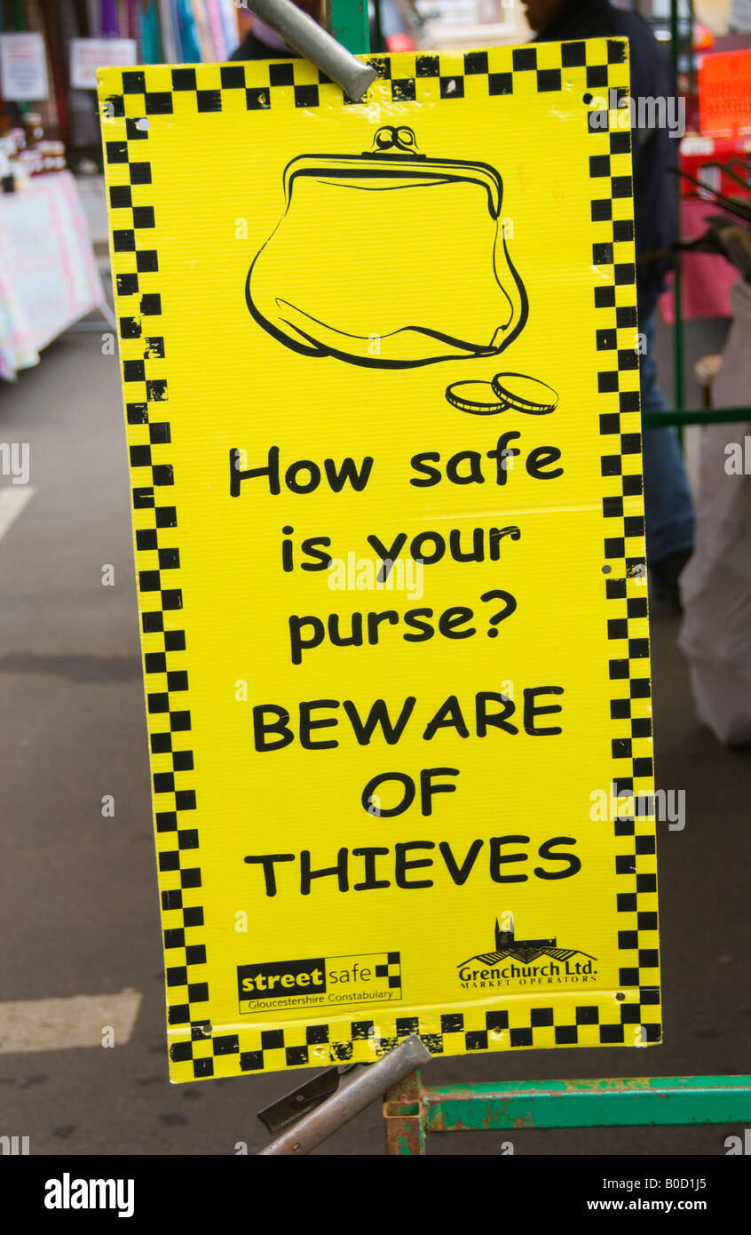 Crime prevention notice at weekly market in Moreton in Marsh Cotswolds Gloucestershire England UK EU - Stock Image