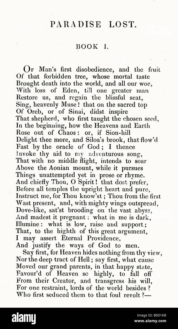First Page of Paradise Lost Poem by John Milton published by Edward Churton of London 1836 - Stock Image