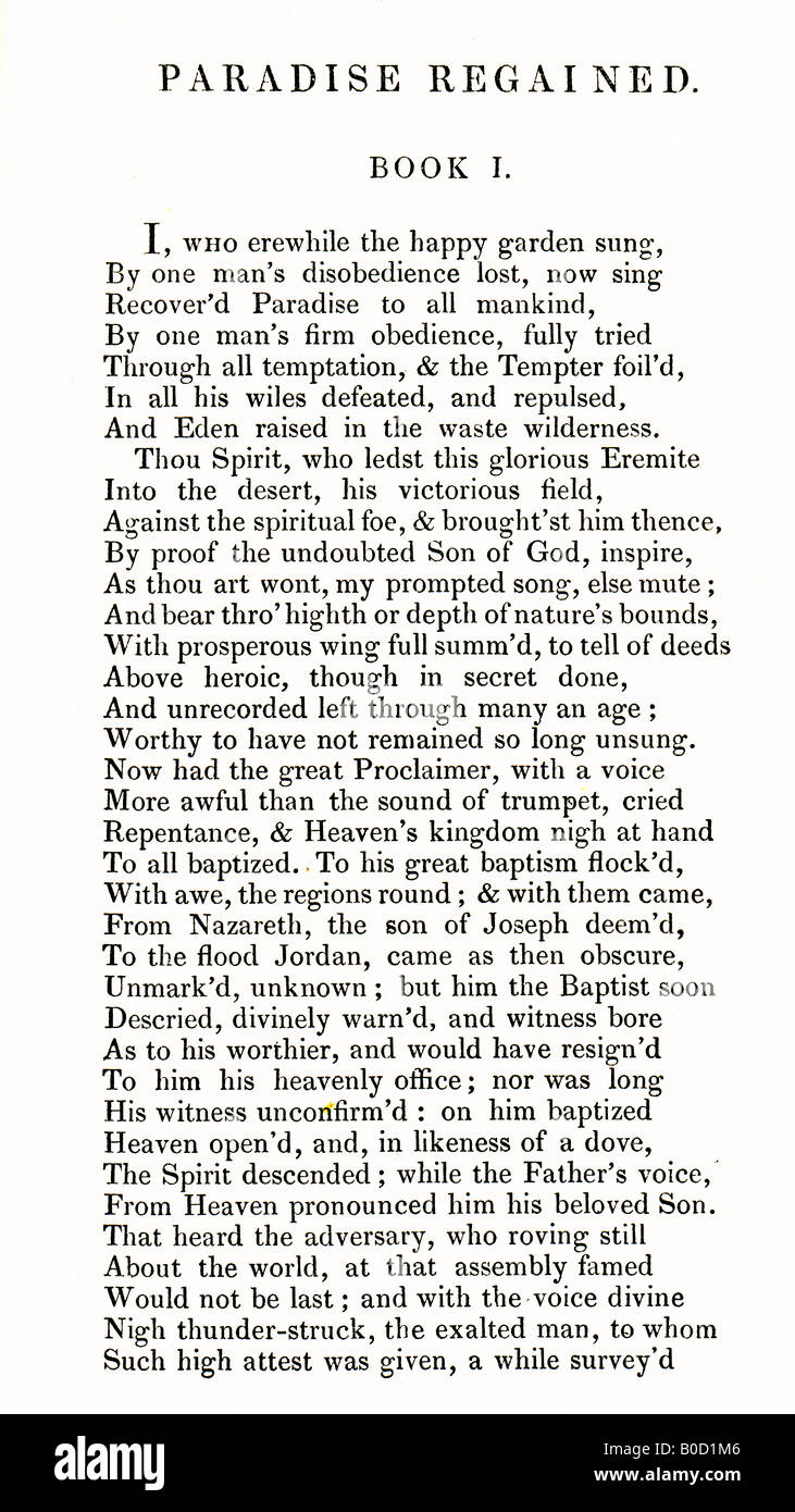 First Page of Paradise Regained Poem by John Milton published by Edward Churton of London 1836 - Stock Image