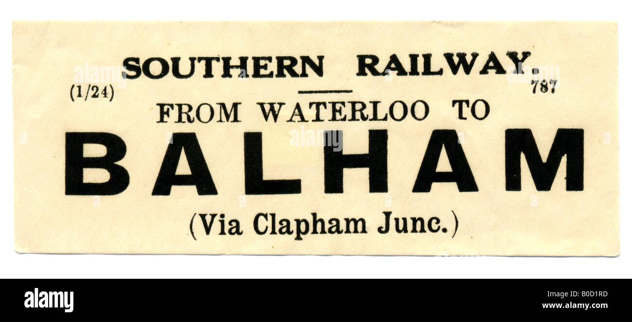 Balham Greater London Southern Railway Station luggage label January 1924 - Stock Image
