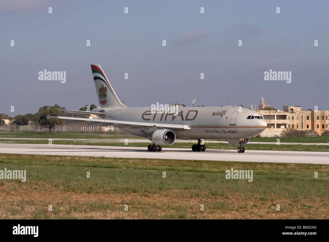 Etihad Crystal Cargo Airbus A300 departing from Malta - Stock Image