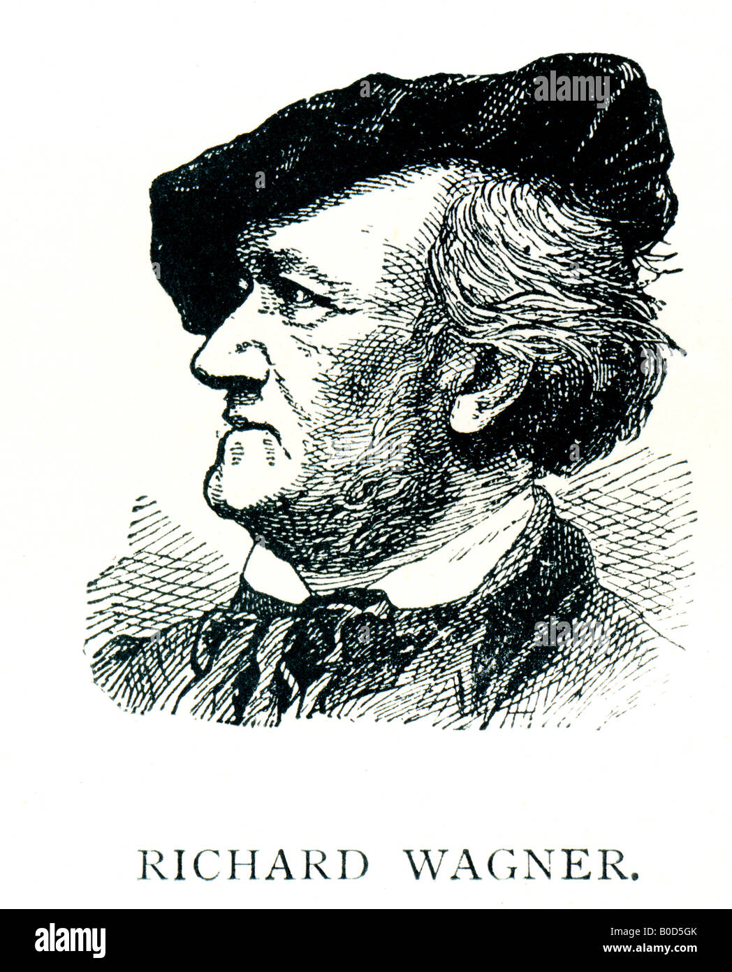 Victorian Steel Engraved  1892 Print of Richard Wagner Musical Composer FOR EDITORIAL USE ONLY - Stock Image