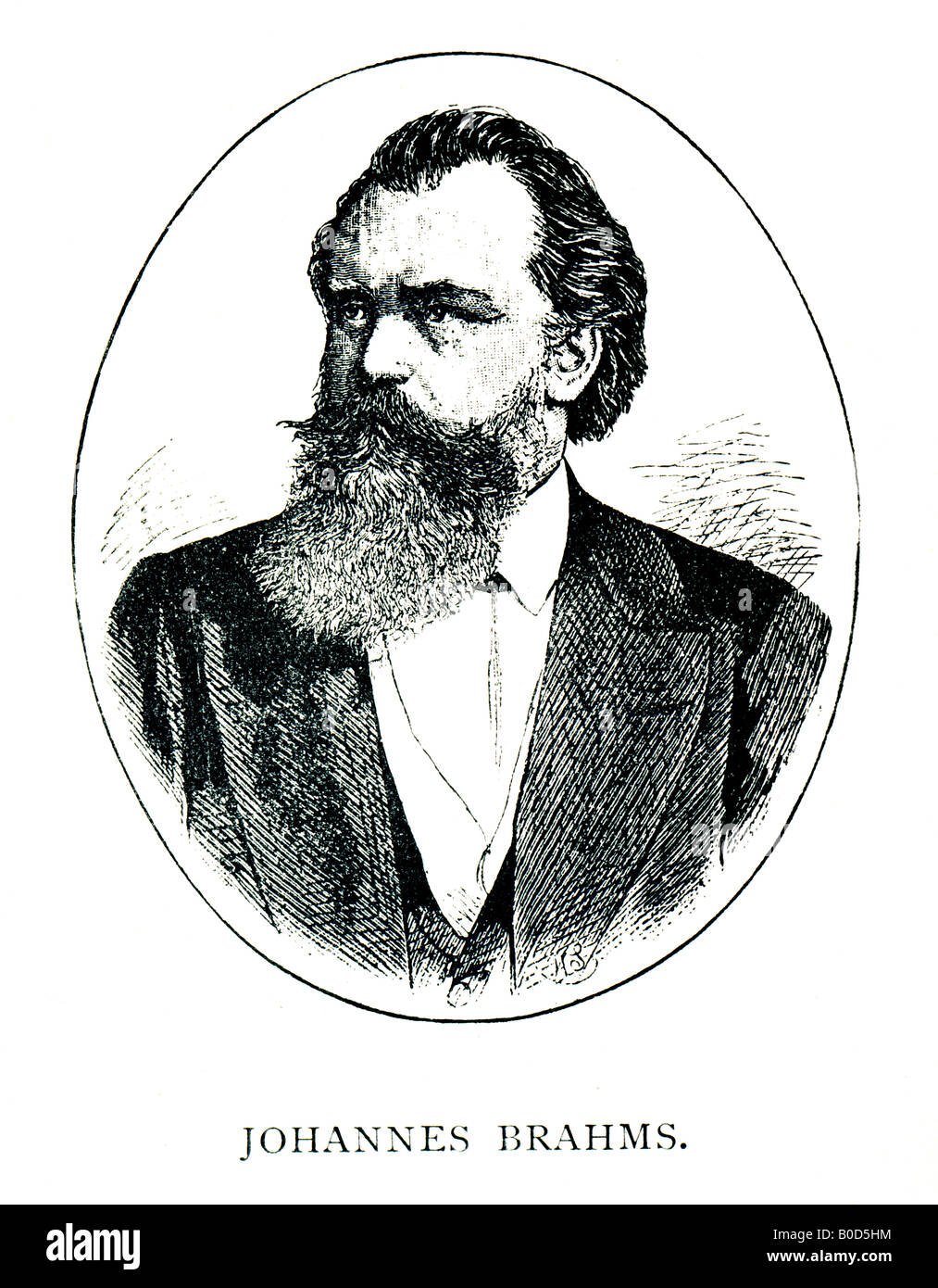 Victorian Steel Engraved  1892 Print of Johannes Brahms Musical Composer FOR EDITORIAL USE ONLY - Stock Image