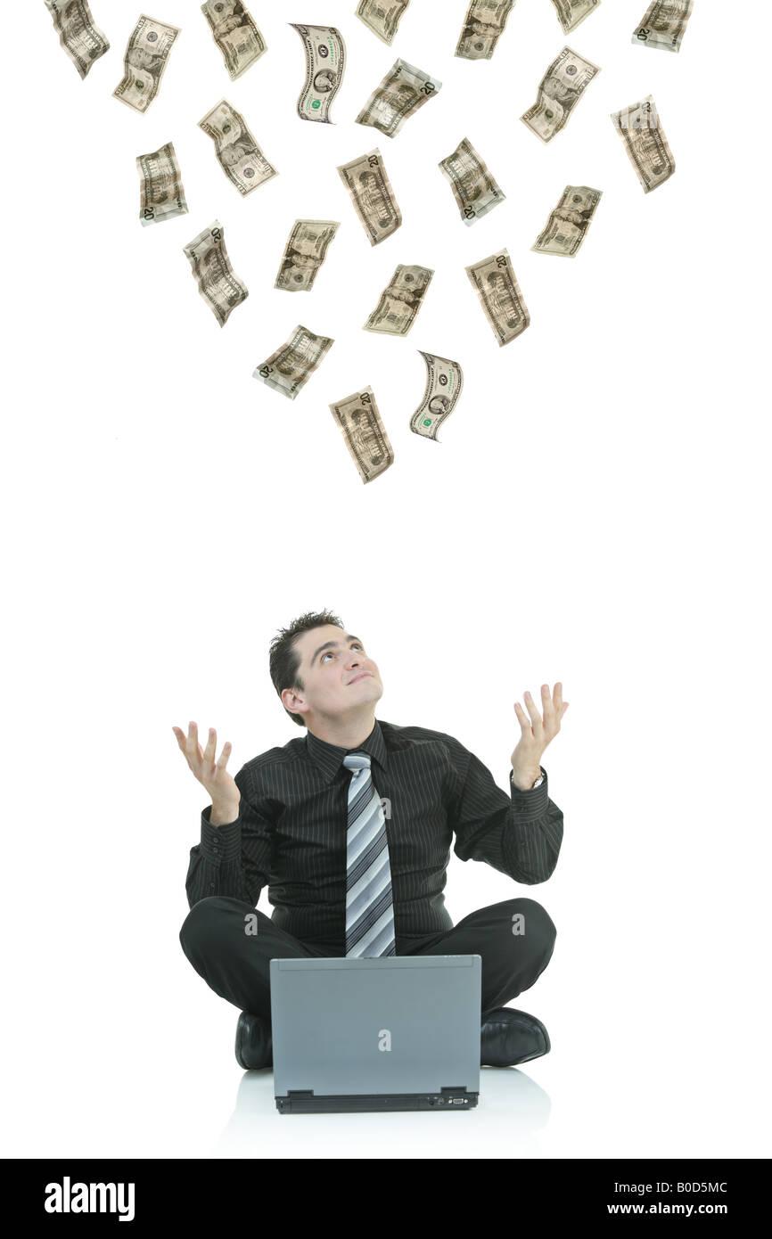 Money Raining Down On A Businessman Stock Photo 17500236 Alamy