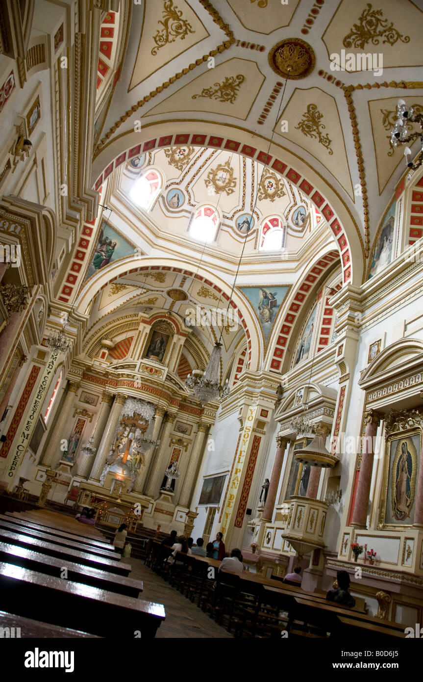 The interior of INMACULADA CONCEPCION (immaculate conception) church in Puebla, Mexico. - Stock Image