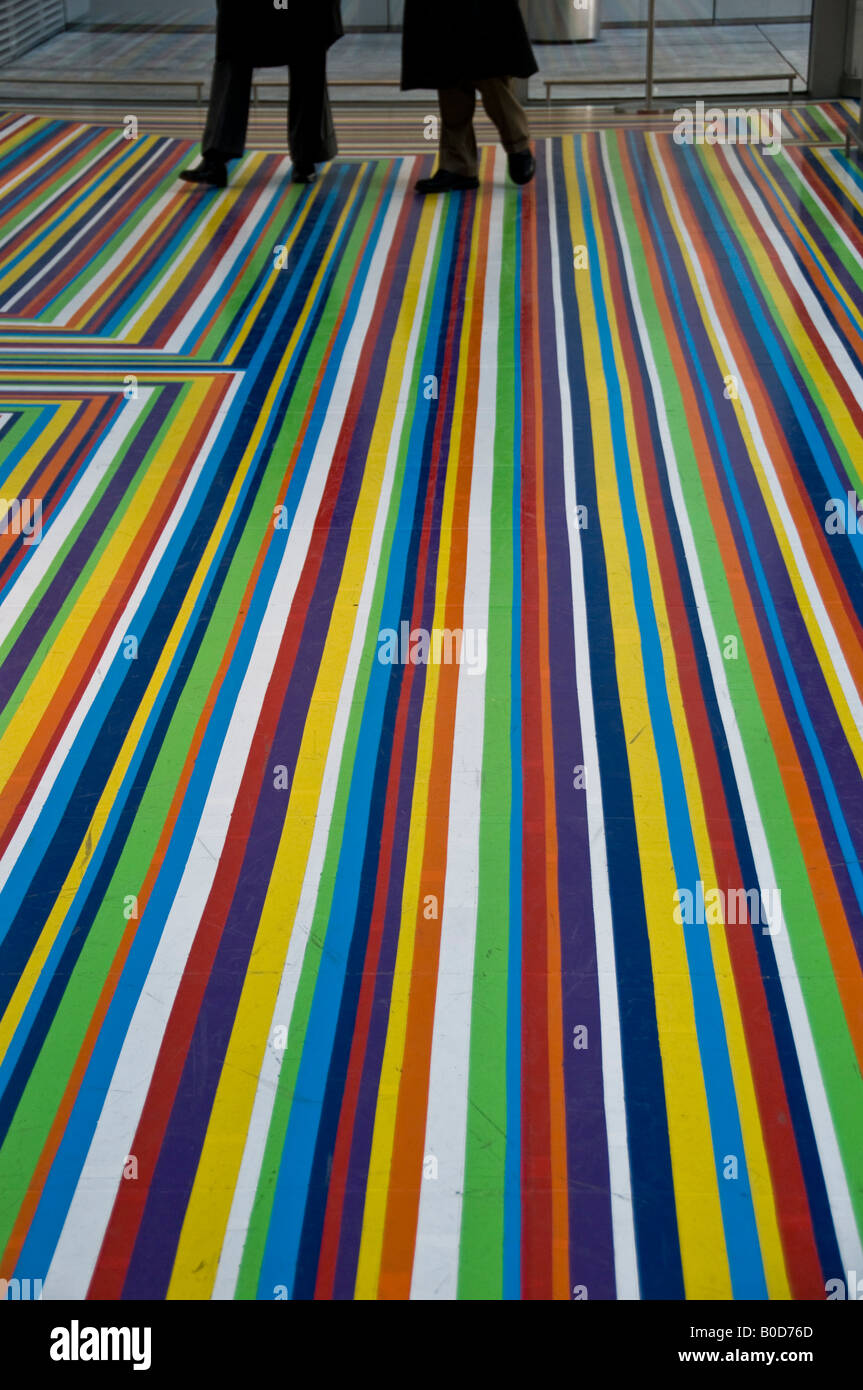 3454e0ab7777 Multi colored stripes on the ground floor at Museum of Modern Art in New  York